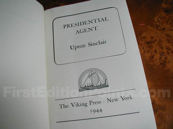 Picture of the first edition title page for Presidential Agent.