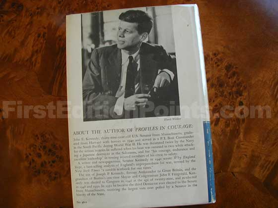 Picture of the back dust jacket for the first edition of Profiles In Courage.