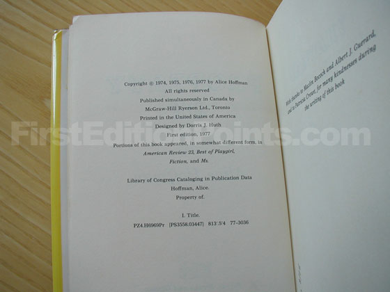 Picture of the first edition copyright page for Property Of.