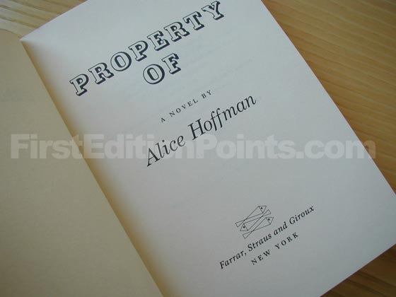 Picture of the first edition title page for Property Of.