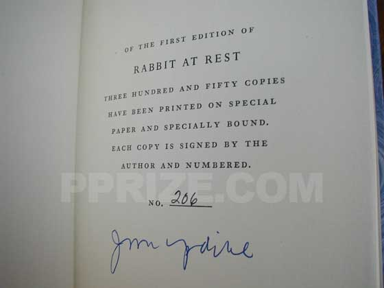 This is the signature page from Knopf&#39;s limited first edition. It states that this is 