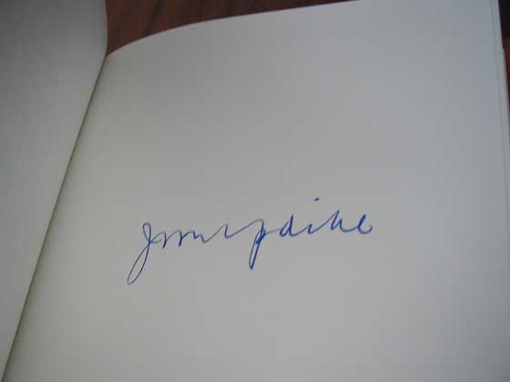 John Updike�s signature appears on a blank page in the Franklin first edition.