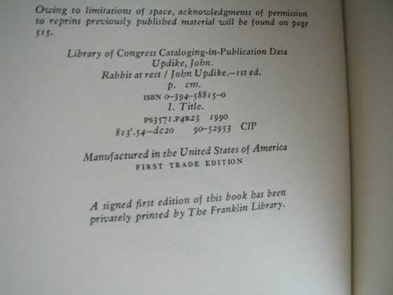 On the copy right page of the first trade edition, there is a reference to the Franklin 