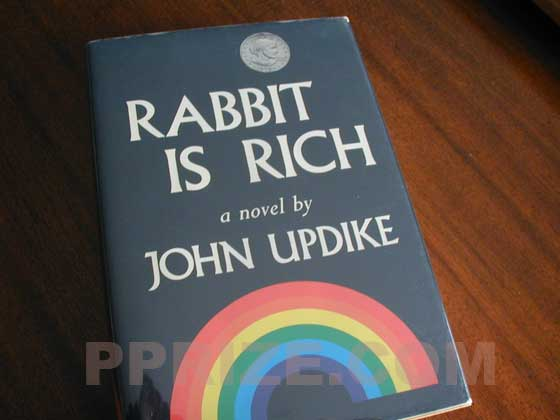 Picture of the 1981 first edition dust jacket for Rabbit is Rich.