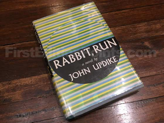 Picture of the 1960 first edition dust jacket for Rabbit, Run.