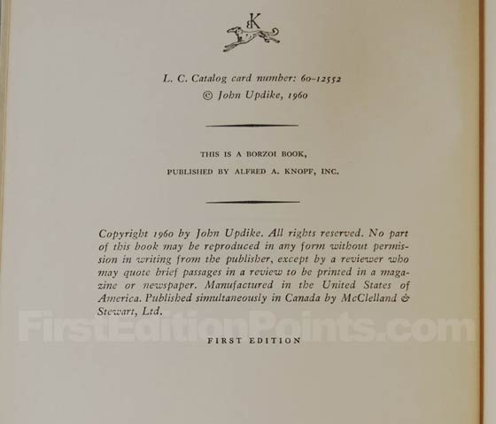 Picture of the first edition copyright page for Rabbit, Run.