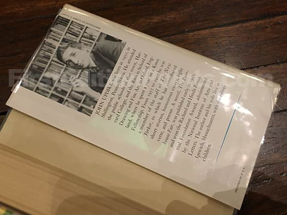 Picture of the back dust jacket flap for the first edition of Rabbit, Run.