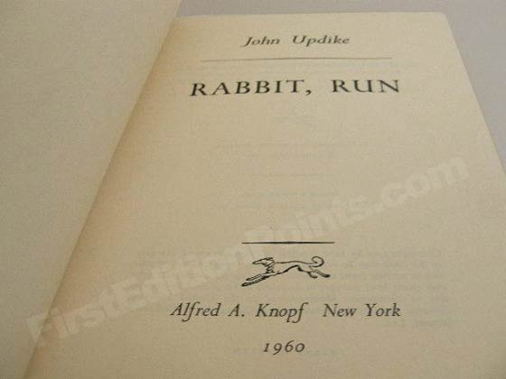 Picture of the first edition title page for Rabbit, Run.