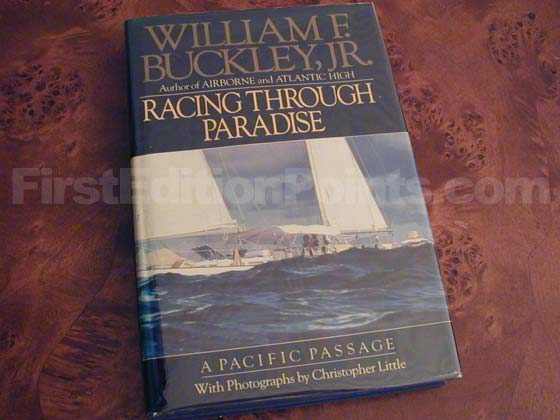 Picture of the 1987 first edition dust jacket for Racing Through Paradise.
