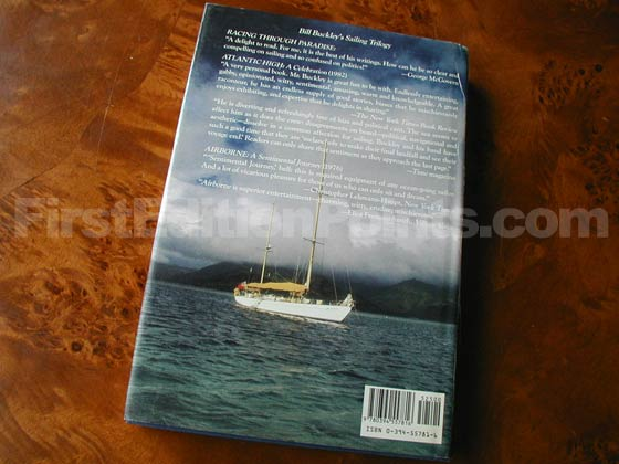 Picture of the back dust jacket for the first edition of Racing Through Paradise.