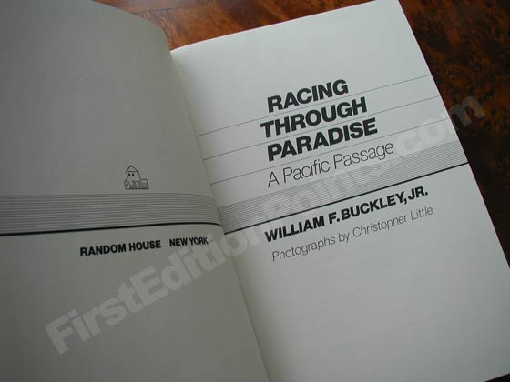 Picture of the first edition title page for Racing Through Paradise.