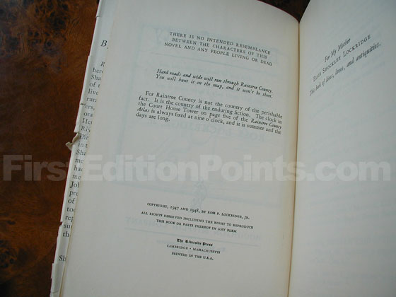 Picture of the first edition copyright page for Raintree County.