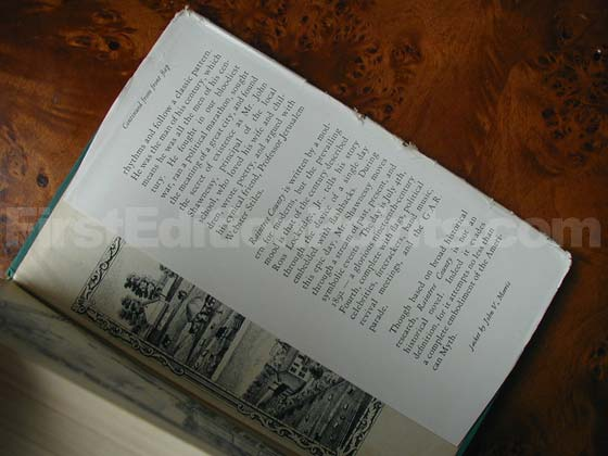 Picture of the back dust jacket flap for the first edition of Raintree County.