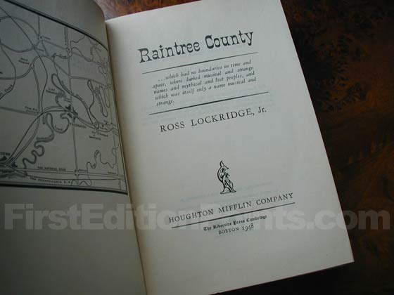 Picture of the first edition title page for Raintree County.