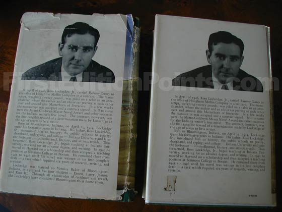 The book on the left is a first edition.  The biography on the back dust jacket containts