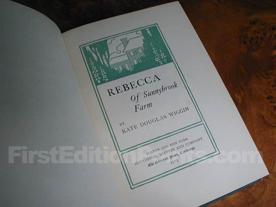 Picture of the first edition title page for Rebecca of Sunnybrook Farms.
