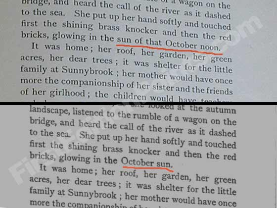 "Page 327, line 13 of Rebecca of Sunnybrook Farms was changed from ""in the sun of that"