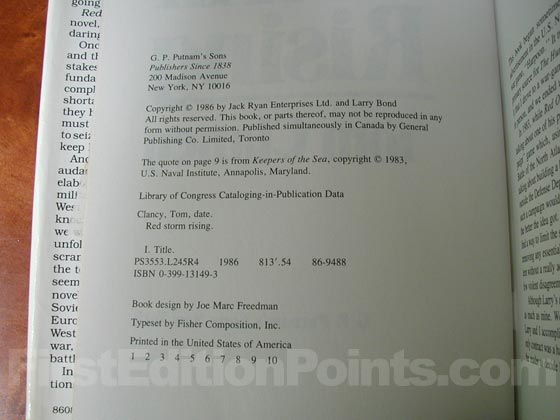 Picture of the first edition copyright page for Red Storm Rising.