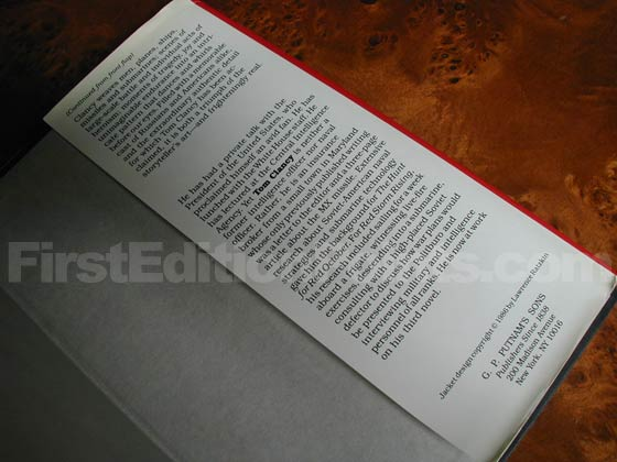 Picture of the back dust jacket flap for the first edition of Red Storm Rising.