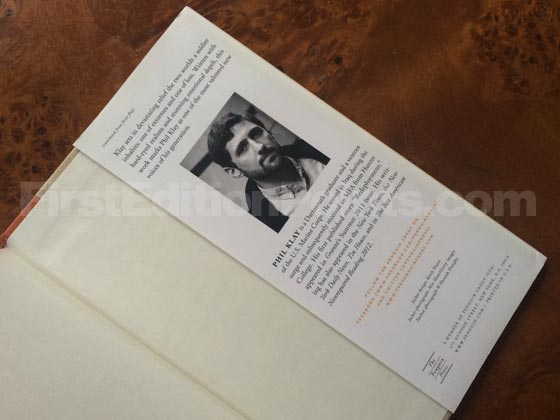 Picture of the back dust jacket flap for the first edition of Redeployment.