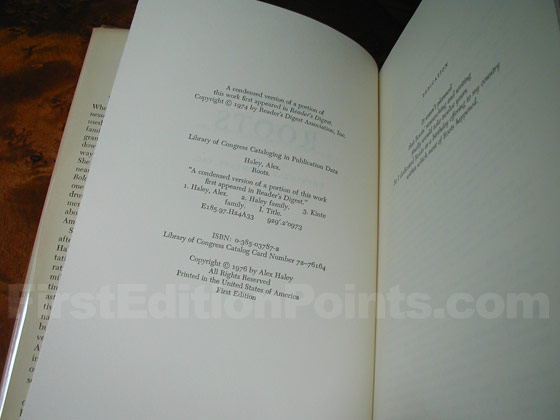 Picture of the first edition copyright page for Roots.