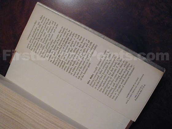 Picture of the back dust jacket flap for the first edition of Roots.