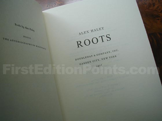 Picture of the first edition title page for Roots.