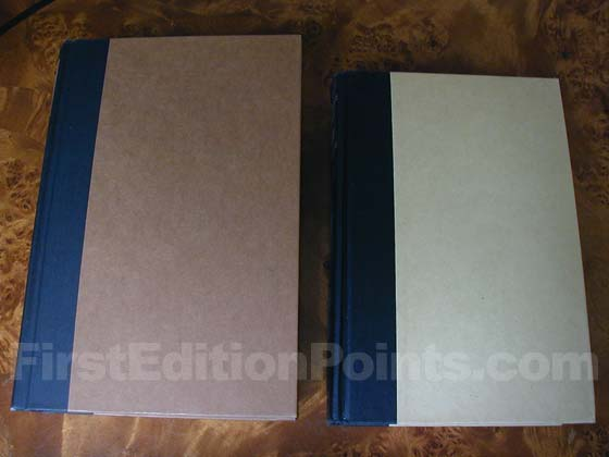 The book club edition on the right has lighter colored boards than the first edition on