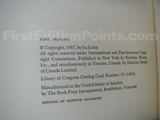 Picture of the first edition copyright page for Rosemary's Baby.