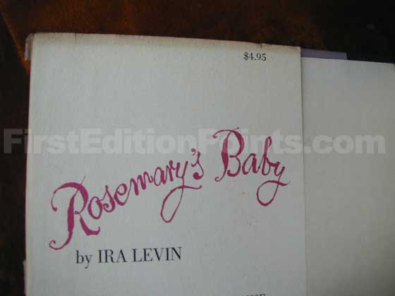 Picture of dust jacket where original $4.95  price is found for Rosemary's Baby.