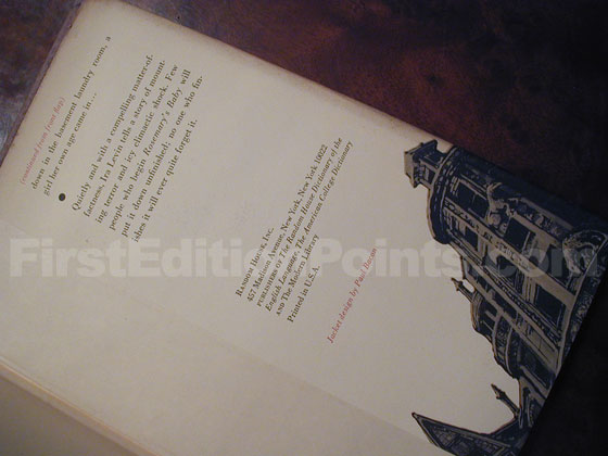 Picture of the back dust jacket flap for the first edition of Rosemary's Baby.