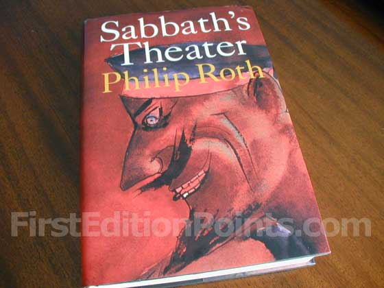 Picture of the 1995 first edition dust jacket for Sabbath's Theatre.