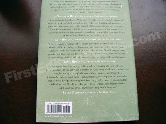 Picture of the back dust jacket for the first edition of Salvage the Bones.