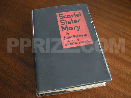 Picture of the 1928 first edition dust jacket for Scarlet Sister Mary.