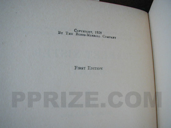 Picture of the first edition copyright page for Scarlet Sister Mary.