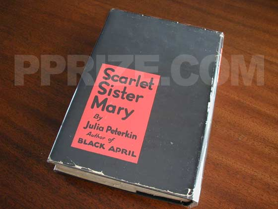 Picture of the back dust jacket for the first edition of Scarlet Sister Mary.