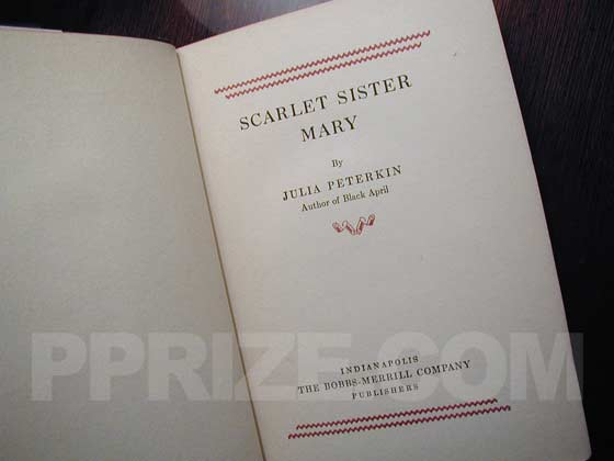 Picture of the title page for Scarlet Sister Mary.