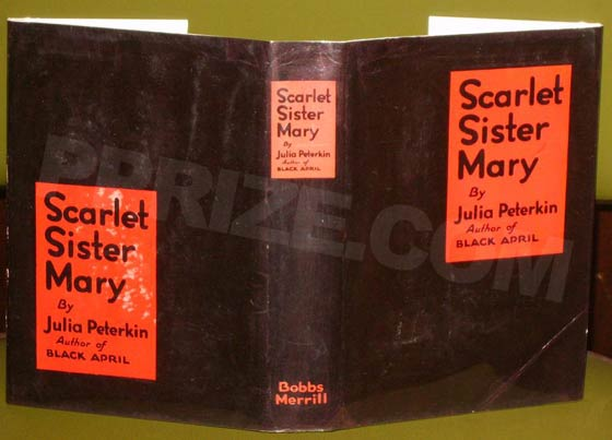 Picture of Scarlet Sister Mary dust jacket spine.  Photo courtesy of James Cahill/Rare