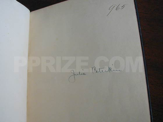 The Airplane Edition of Scarlet Sister Mary was signed by Julia Peterkin on a special