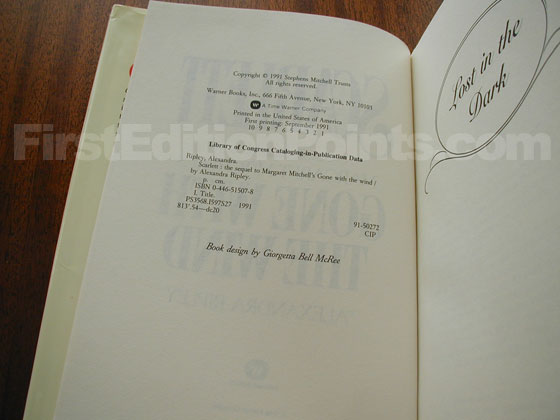 Picture of the first edition copyright page for Scarlett.