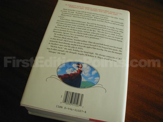Picture of the back dust jacket for the first edition of Scarlett.