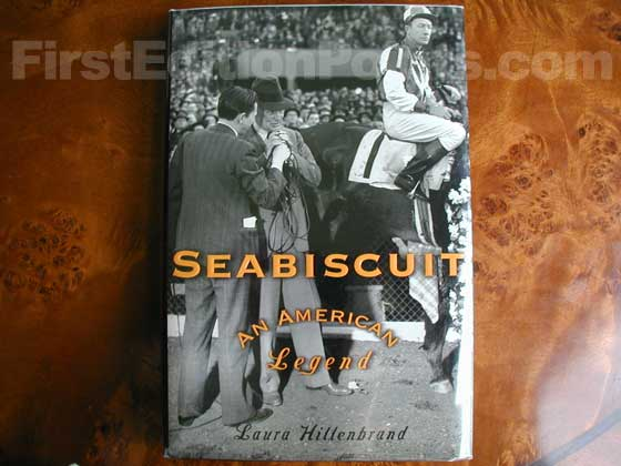 Picture of the 2001 first edition dust jacket for Seabiscuit.