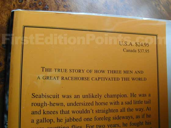Picture of dust jacket where original $24.95  price is found for Seabiscuit.