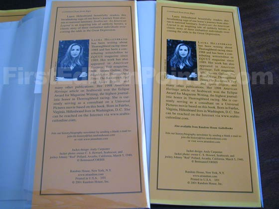 The flap on the left is from a first printing, and the flap on the right is from a Fifth