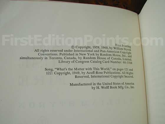 Picture of the first edition copyright page for Set This House On Fire.