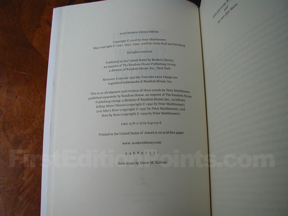 Picture of the first edition copyright page for Shadow Country.