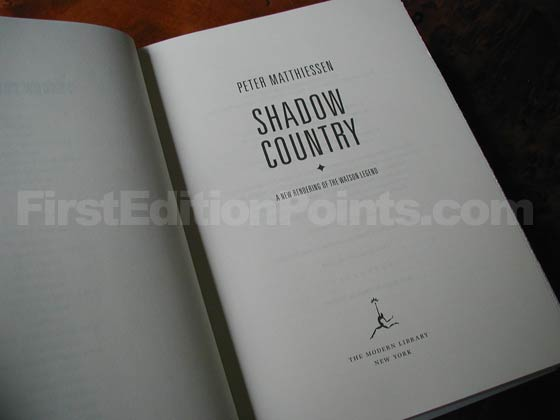 Picture of the first edition title page for Shadow Country.
