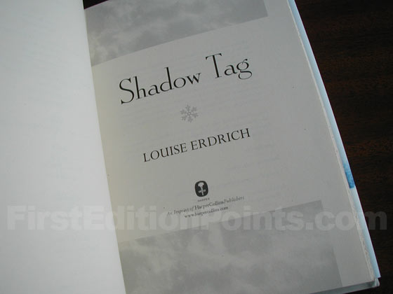 Picture of the first edition title page for Shadow Tag.