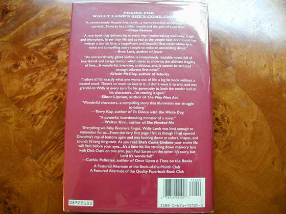 Picture of the back dust jacket for the first edition of She's Come Undone.