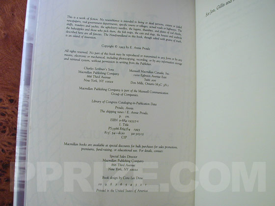 Picture of the first edition copyright page for The Shipping News.